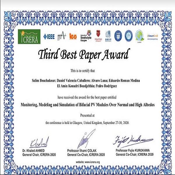 Le CDER décroche le troisième Prix du meilleur article de la 9e édition de la conference ICRERA 2020, par la participation de Dr.SALIM BOUCHAKOUR