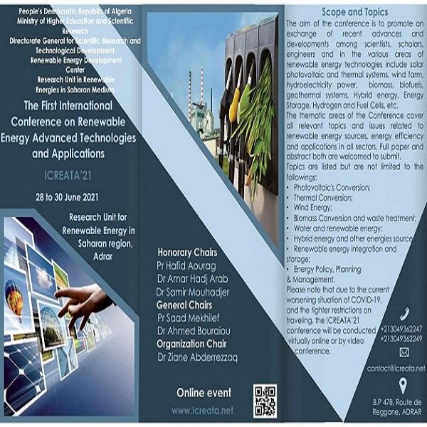 دعوة للنشر: الملتقى الدولي الأول حول التقنيات و التطبيقات المتقدمة في مجال الطاقات المتجددة