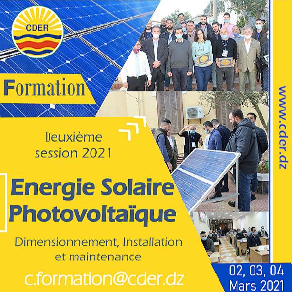 مركز تنمية الطاقات المتجددة يعلن عن قتح التسجيلات في الدورة الثانية 2021, لتكوين الطاقات الشمسية الكهروضوئية: تحديد الأبعاد, التركيب و الصيانة