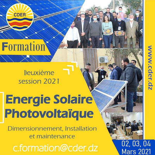 Le CDER lance les inscriptions à la deuxième session 2021, de la formation sur l'Energie Solaire Photovoltaïque : Dimensionnement, Installation et maintenance